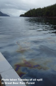 Image: Oil on water in Grenville Channel