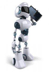 Robot on cellphone