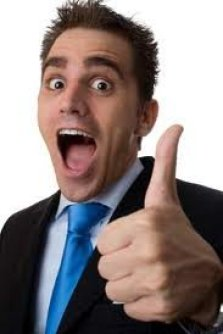 A salesman giving the thumbs-up