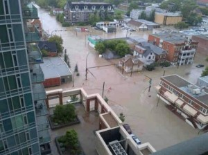 Flooded downtown Calgary streets