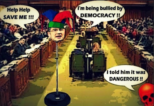 """Cartoon of Pierre Poiliever saying """"Help, I'm being bullied by democracy"""""""