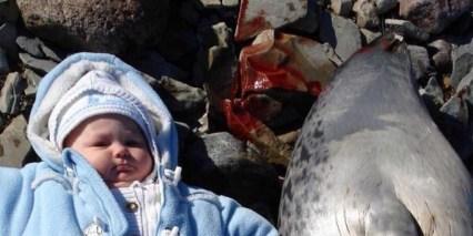 Tanya Tagaq baby next to dead seal