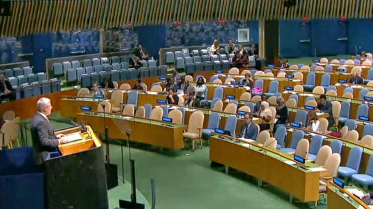 Stephen Harper addresses largely empty UN, 2014