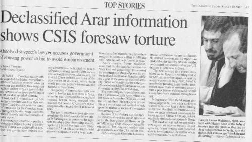 """Clip of newspaper story: """"Declassified Arar infromation shows CSIS foresaw torture"""""""