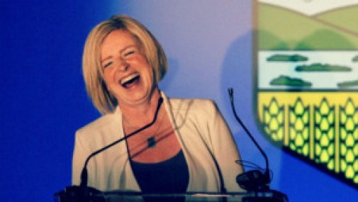 Rachel Notley laughing on election night