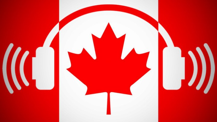 Canadian flag with earphones