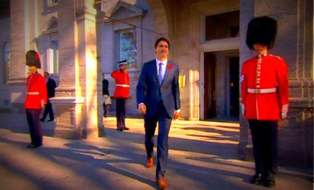 Justin Trudeau leaving Parliament Buildings