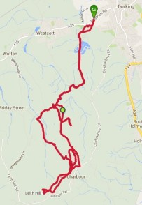 Today's meandering route in the Surrey Hills