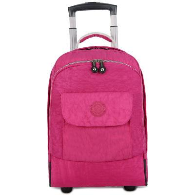 17 inch Rolling Luggage Backpack Carry on Duffle Bag Backpack Rose red
