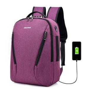 Laptop knapsack USB charging, waterproof and anti-theft Backpack Purple
