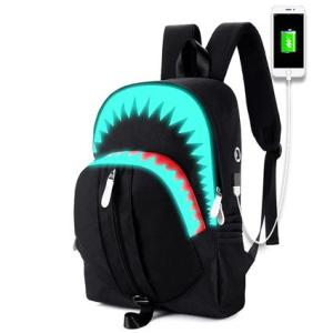 Luminous Shark USB Function Backpack Backpack Black