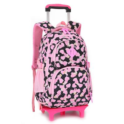 Kids Rolling backpack with removable 2 or 6 wheels Backpack Black 2 wheels