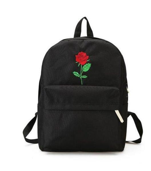 Embroidered School Canvas Backpack Backpack Black Rose
