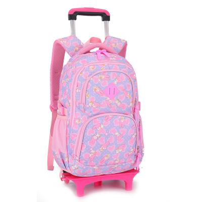 Kids Rolling backpack with removable 2 or 6 wheels Backpack Purple 2 wheels
