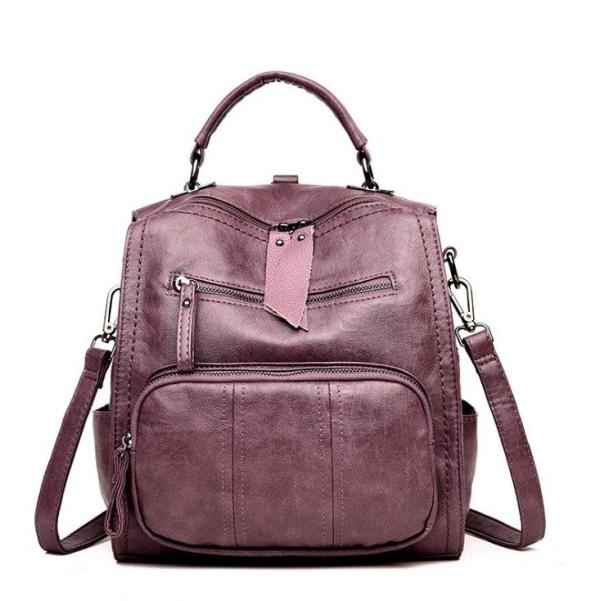 Multi-purpose soft face PU Leather backpack Backpack Violet