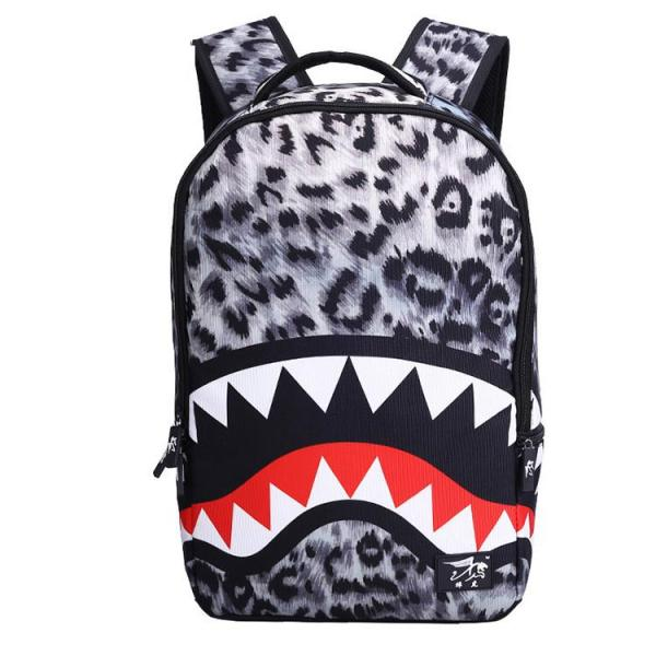 Cool shark teeth fashion School backpack Backpack Grey