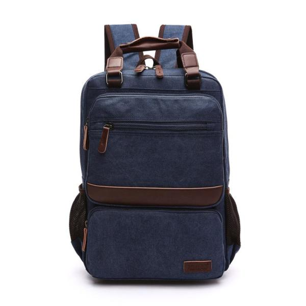 Zuolunduo Men Rucksack Canvas backpack Backpack Blue