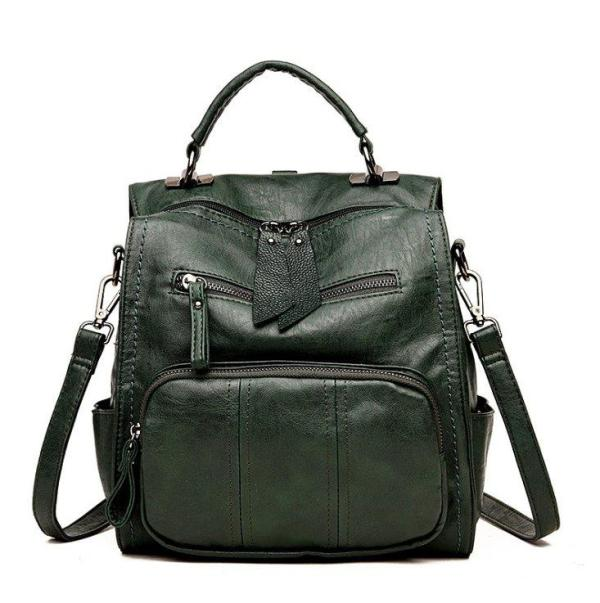 Multi-purpose soft face PU Leather backpack Backpack Green