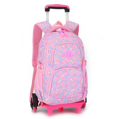 Kids Rolling backpack with removable 2 or 6 wheels Backpack Purple 6 wheels