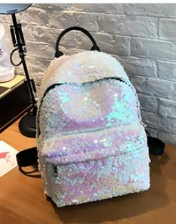 Super Shinning Disco Sequin Women Backpack Backpack White
