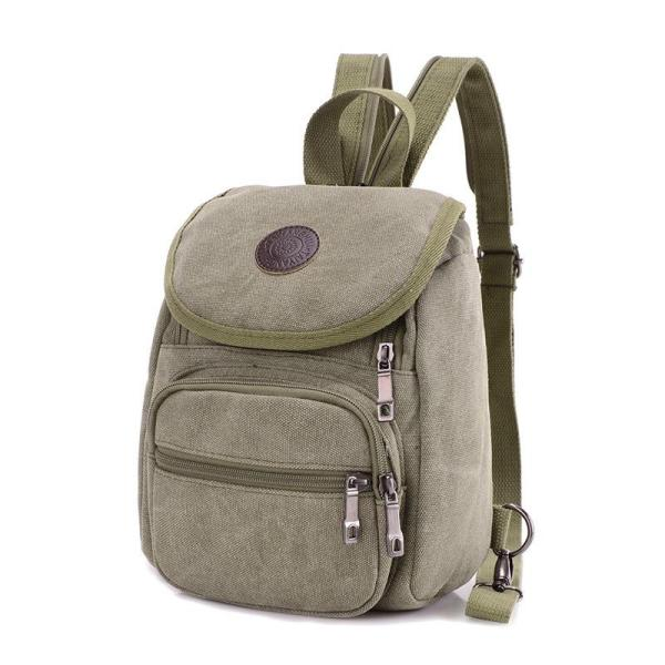 Men's Canvas backpack leisure travel, chest bag Backpack Army green