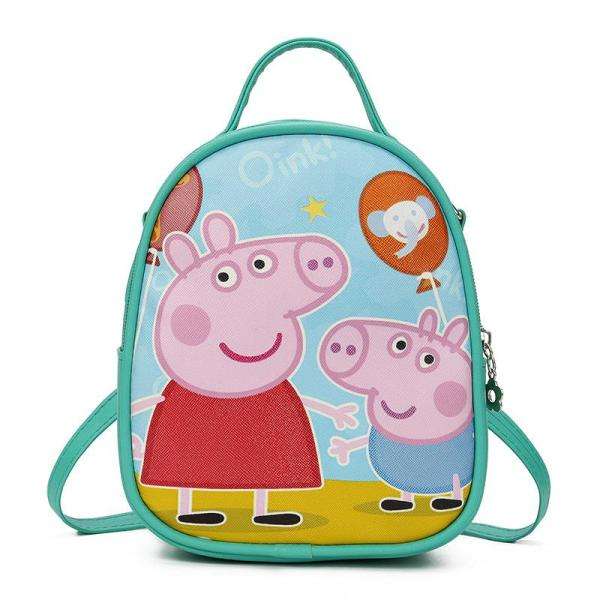 Cartoon pink piggy Small Backpack Backpack Light green
