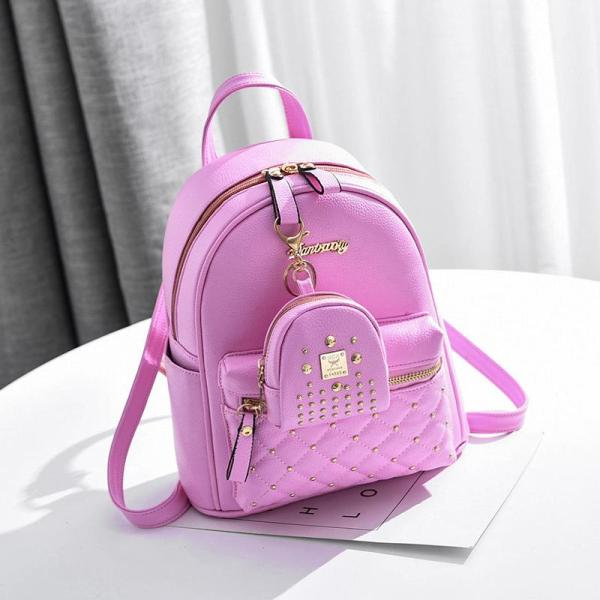 Spring and summer Women fashion leisure backpack 2 sets Backpack Pink