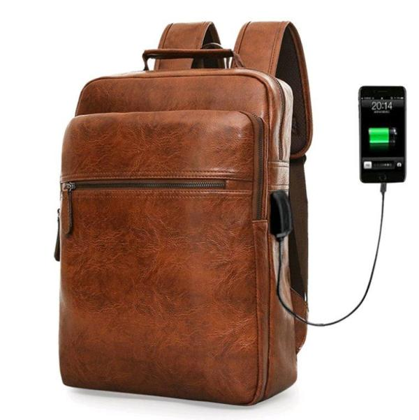 Men's Business backpack pu leather large capacity Backpack Brown