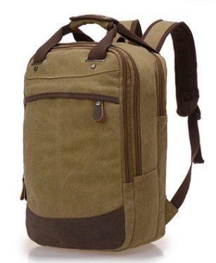 College wind canvas Student backpack Backpack Khaki