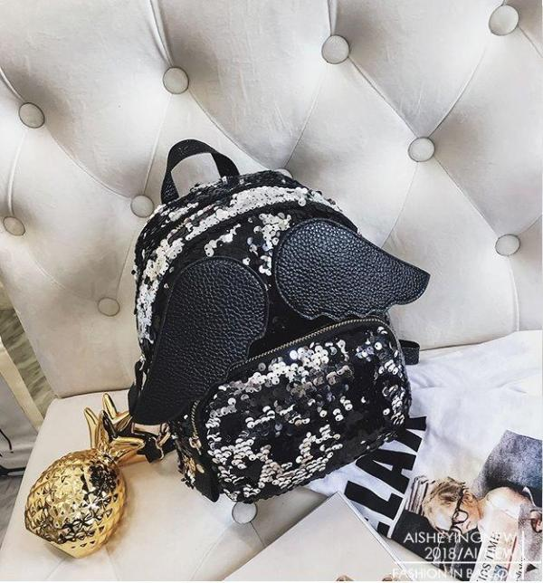 3D small wings Women backpack Backpack Black