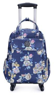 Canvas Floral Printed Backpack with wheels Backpack Little rose