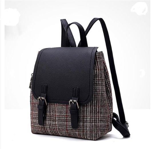 Autumn and Winter Women woolen backpack Backpack Black