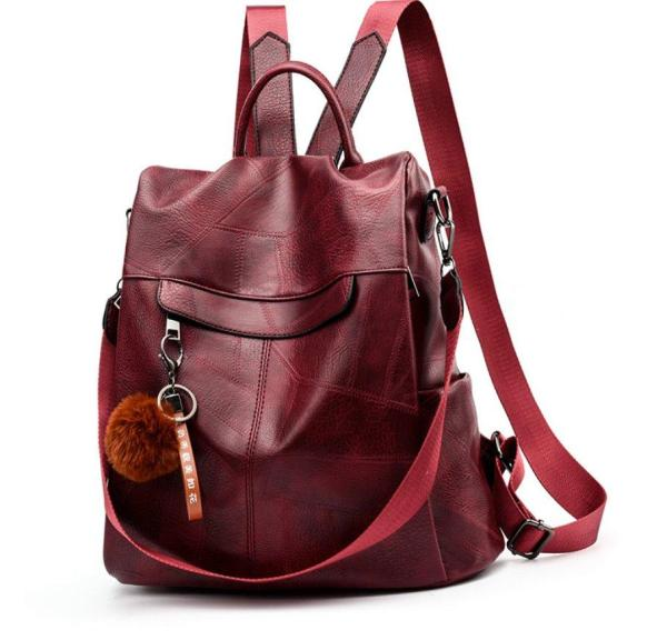 Women Retro PU Crossbody Backpack jujube red