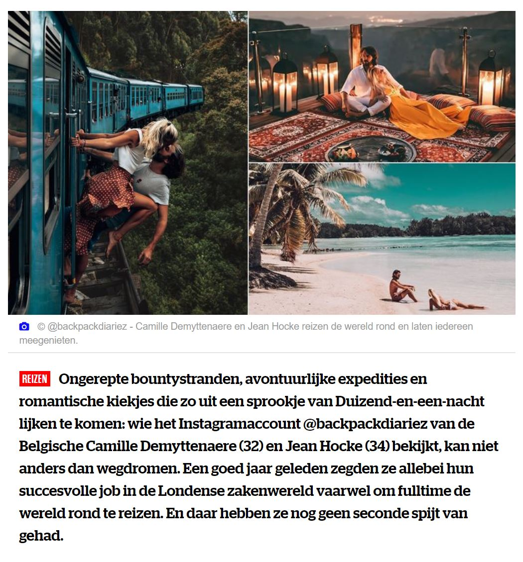 """Belgian couple turns travelling into full time profession"", article by HLN"
