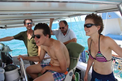 Amazing Jay teaching the first sailing tricks to Alexander, Max & Jessica