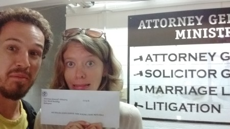 Picking up marriage license
