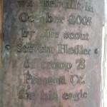 Legend Wood Shelter plaque
