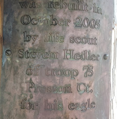 Legend Wood Shelter plaque