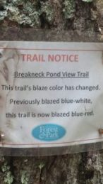 Blue white trail becomes blue red