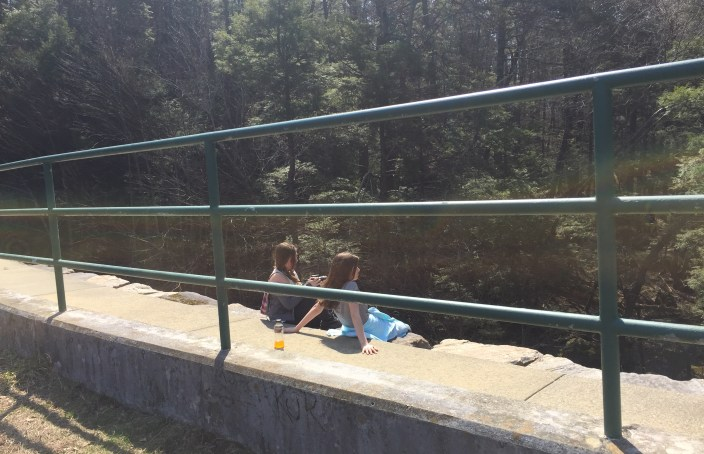 Girls on the wrong side of the fence Green Falls Dam