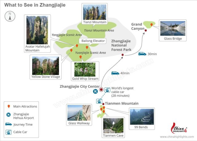 Map of Zhangjiajie National Forest Park, China