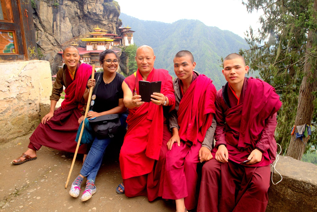 hiking with monks in bhutan