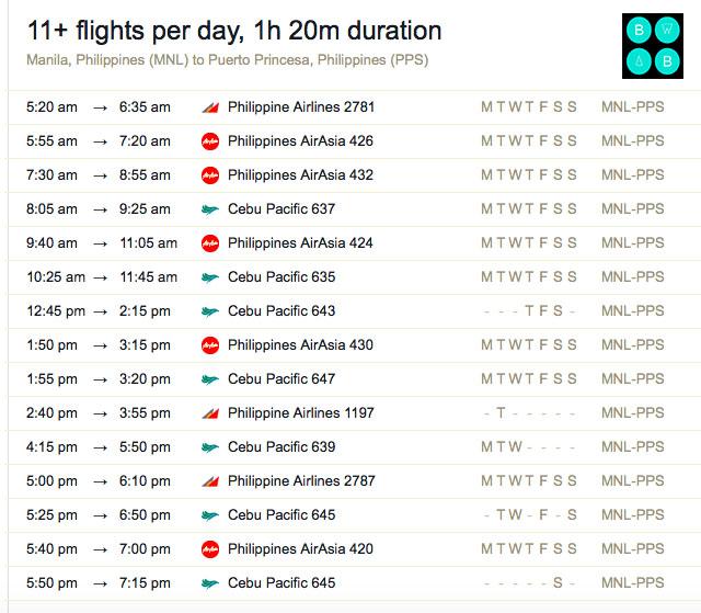 Manila to Puerto Princesa Flight Schedules El Nido Travel Guide