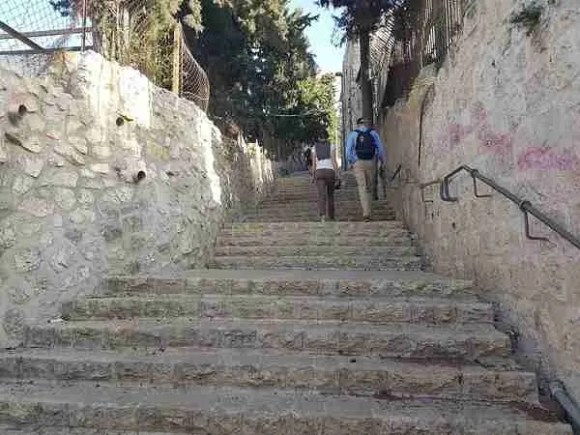 The staircase leading to the top of Mount of Olives