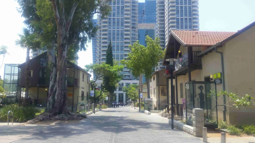 Sarona and skyscrapers in the background