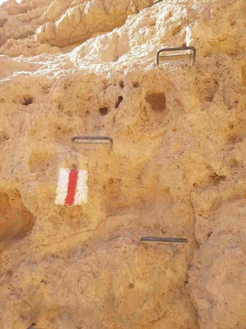 Red marked trail on En Netafim hiking trail