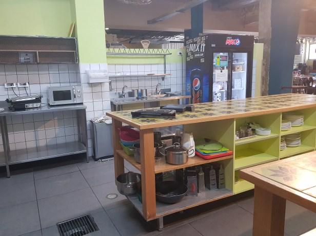 The shared kitchen at Abraham Hostel Tel Aviv