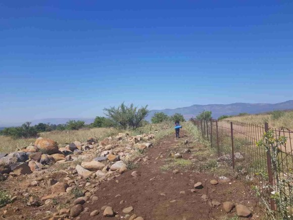 Walking next to the fence on the Israel National Trail