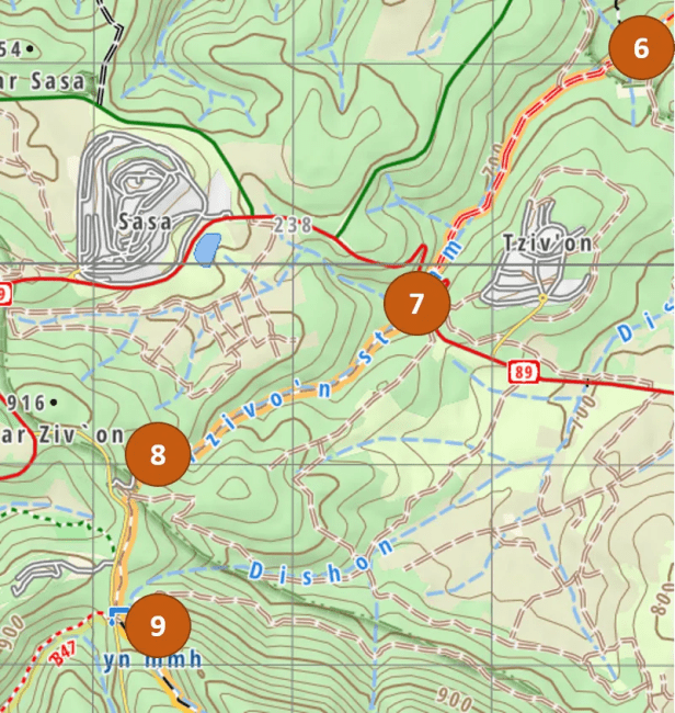 Israel National Trail map for the segment from Gesher Alma to Horvat Hamama