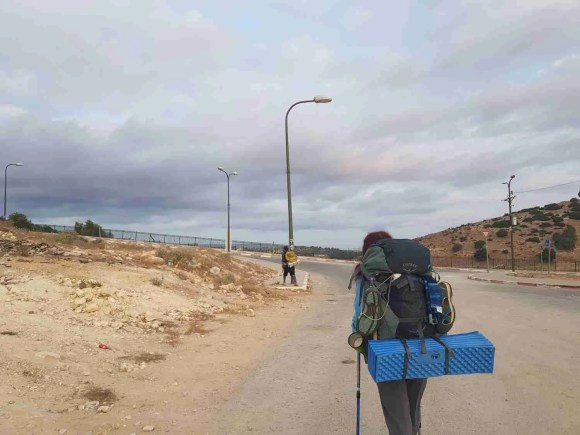 Hiking on the Israel National Trail - the access road to Ras Ali